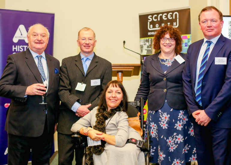 Graham Benson, Unknown, Esther Fox, Ros Kerslake & Damian Collins MP at the Accentuate History of Place Celebration hosted at the Houses of Parliment, London. January 10th 2018  History of Place ended their successful three-year Heritage Lottery Funded project today with a celebration event at the Houses of Parliament to mark their success in bringing 800 years in the lives of deaf and disabled people to a wider public.  But project leads gave a clear call to the sector that more must be done to include disabled people in museums and archives.